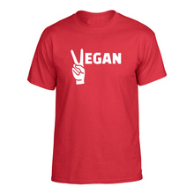 "Cool ""Vegan"" with two fingers up men's t-shirt"