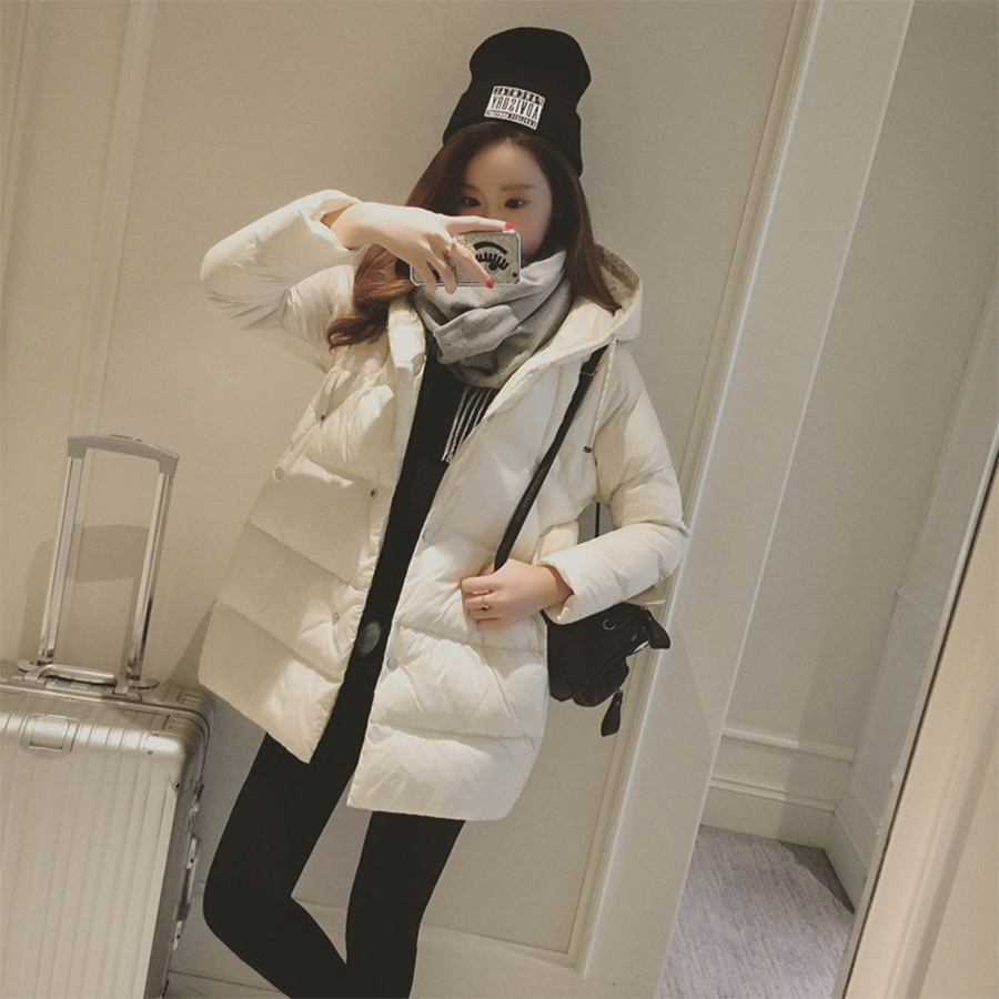 Women Mid-Long Hooded Thick Warm   Down     Coat   Large Size Loose Casual Solid   Down   Outerwear Autumn Winter New Version Cotton Womens