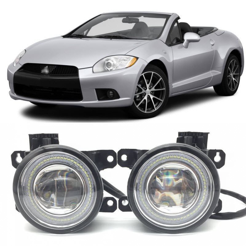 For Mitsubishi Eclipse 2006-2012 2 in 1 LED Angel Eyes DRL Daytime Running Lights Cut-Line Lens Fog Lights Car-Styling for opel astra h gtc 2005 15 h11 wiring harness sockets wire connector switch 2 fog lights drl front bumper 5d lens led lamp