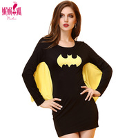 2018 Summer Women Adult Batman Costume Lady Fashion Tight Batwing Dress Bat Hero Cosplay Lady Mini