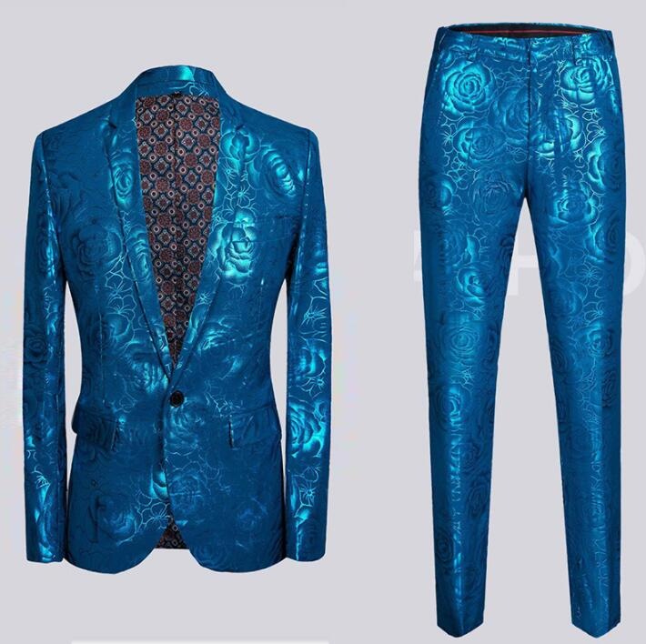 Blazer Men Groom Suit Set With Pants Personality Host Printing Costime Homme Singer Star Style Dance Stage Clothing Formal Dress