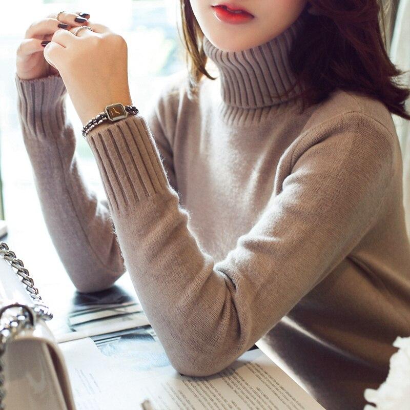 2017 Primavera de invierno nuevo párrafo corto femenino suéter de cuello alto su