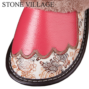 Genuine Leather Slippers Women New Indoor Shoes Home Slippers Soft Bottom  Wood Floor Non Slip Warm Plush Cotton Men Slippers 4