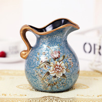 Modern Europe Style Luxury Simple Mesa of Painting of Flowers In Vase Ceramic Small Milk Pot Process Home Decoration