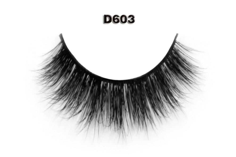 Free Shipping D603 1pcs/lot 3D Mink Eyelash 100% Real Mink Fur Handmade  Lashes Individual Strip