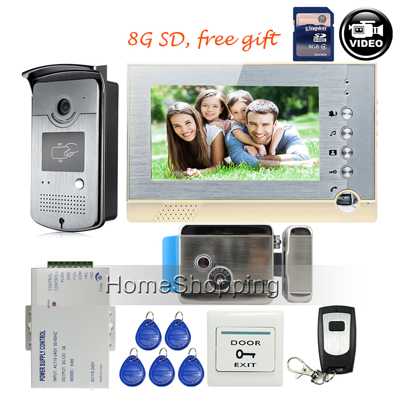 FREE SHIPPING BRAND 7 Home Color Video Door phone Intercom System recording Monitor RFID Card Reader