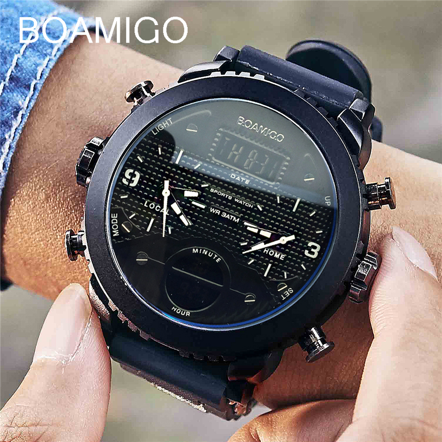 Uomini orologi BOAMIGO marca 3 time zone militare sport orologi uomo LED digital quarzo orologi da polso regalo relogio masculino
