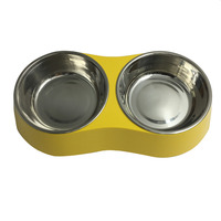Dog Cat Feeding Double Bowl Puppy No Harm Puppy Removable Stainless Steel Food Water Holder Melamine