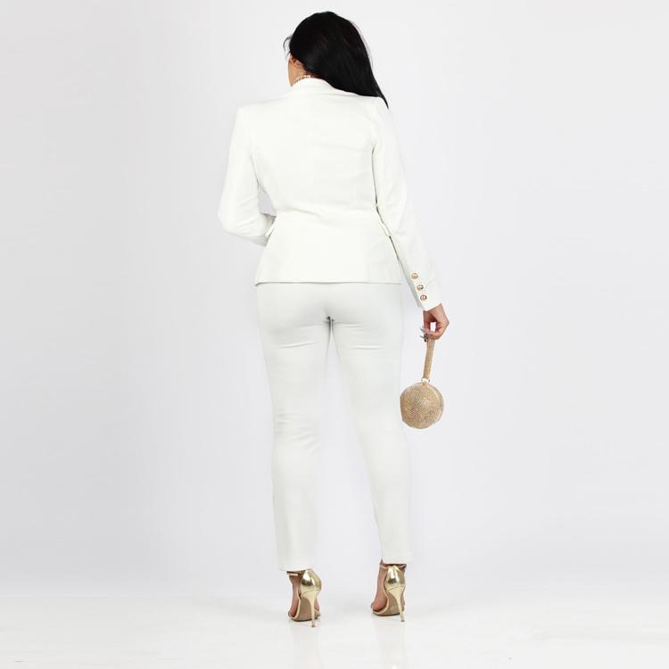 Black White Pants Suit Women Business Formal 2 Piece Pant Set Female (14)