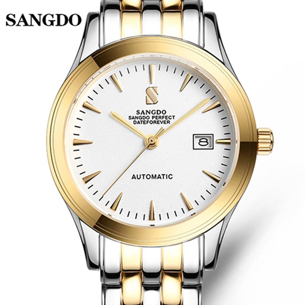 Роскошные SANGDO простой Дизайн часы Для мужчин золото Нержавеющаясталь автоматические механические Водонепроницаемый календарь карнавал ...