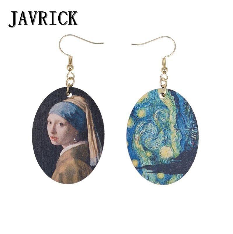 Oil Painting Art Women Earrings Johannes Art Natural Wood Earrings Girls Fashion Jewelry Gift in Drop Earrings from Jewelry Accessories