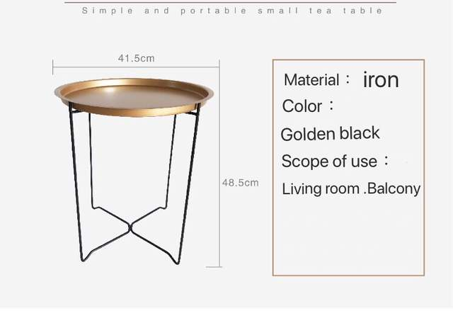 Awesome Nordic Golden Black Wrought Irontray Small Table Simple Sofa Edge Wrought Iron Tray Table Coffee Folding Small Round Table Gmtry Best Dining Table And Chair Ideas Images Gmtryco