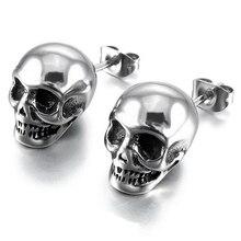 Silver Skull Stud Earrings for Men