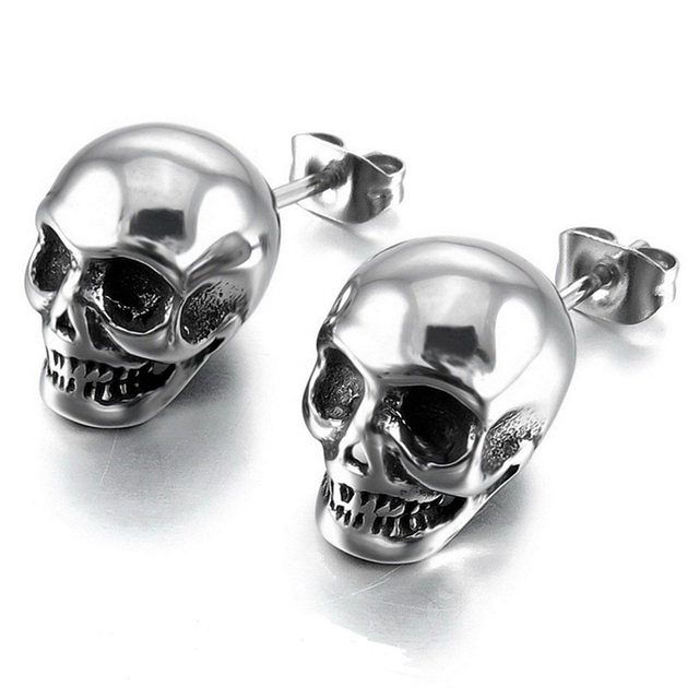 2018 Hot Sell Punk Skull Earrings for Men Boys Cool Silver Jewelry Hip-hop Stud Earrings Vintage Rock Skeleton Earrings