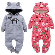 Newborn Baby Rompers Cotton Padded Thicken Warm Girls Clothing Set Autumn Cartoon Toddler Hooded Clothes Unisex Infant Jumpsuits floral winter thicken newborn baby clothes warm kids girl clothing set rompers hats princess girls jumpsuits outerwear
