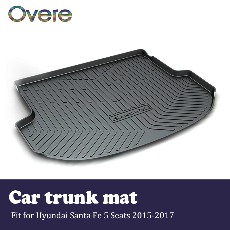 Overe 1Set Car Cargo rear trunk mat For Hyundai Santa Fe 5 Seats 2015 2016 2017 Boot Liner Waterproof Anti-slip mat Accessories