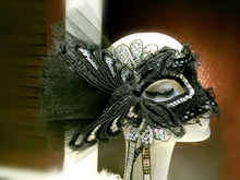 Venice Halloween Masquerade Party Mask Performance Princess Black Lace Butterfly Half Face Mask  Handmade
