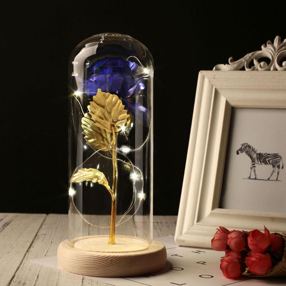 Светодиодный стеклянный чехол с вечным цветком, 24 K, золотые вечерние подарки, сохраненное цветочное свадебное украшение Роза из золотистой фольги, романтические - Цвет: blue