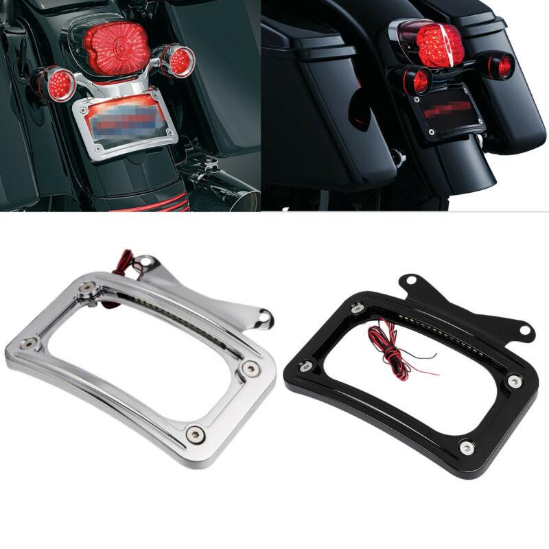 Black Laydown Curved License Plate Frame Holder For Harley Road Glide FLHR 10-UP