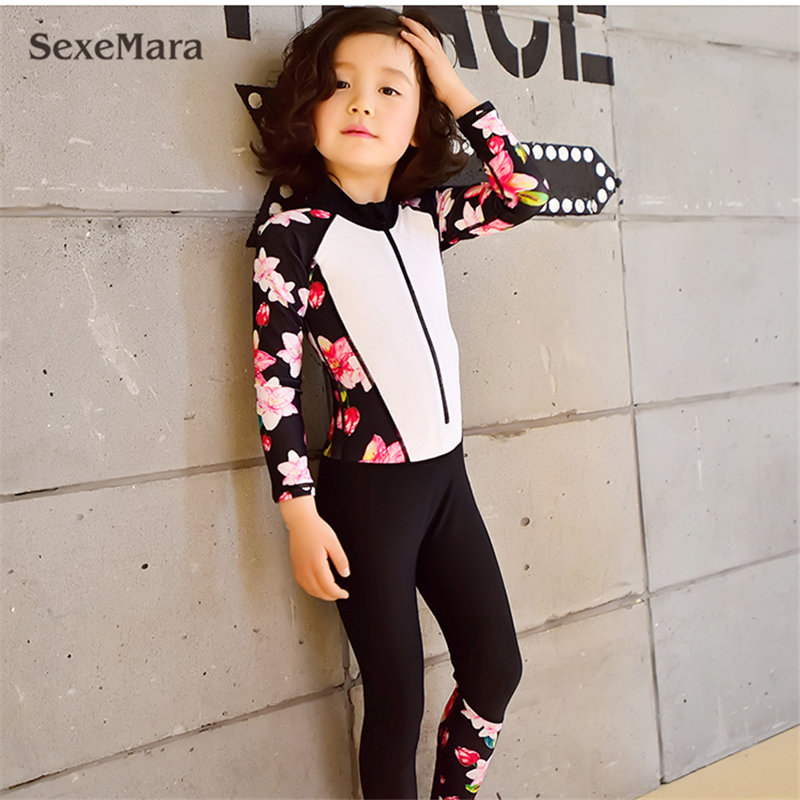 2018 Beautiful girls one piece swim suits kids Long Sleeve floral print swimsuit Bathing suit Swimwear For Children 5-15 Years