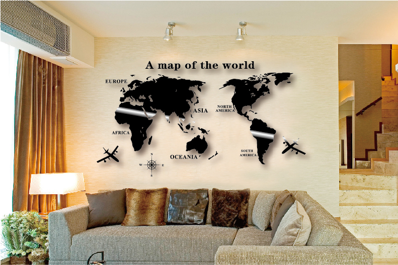Vegg Kunstdekal World Map Sticker Globe Earth Decor for Kid's Room Hjem DIY Speil 3D Akryl Selvklebende Flyttbar