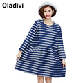 Plus Size Women Clothing Fashion Striped Casual Loose Dress Pocket Shirt Long Blouse Femme Vestido Blusa 2016 Autumn New Arrival