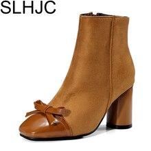Slhjc размер 34-42 Женские ботинки зима-осень мода квадратный носок не сужающийся к низу каблук кожи спереди бантом полусапожки Обувь туфли на высоком каблуке