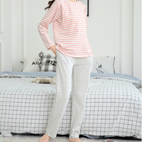 Pregnant women spring and autumn cotton stripes casual pajamas home clothes suit maternity winter nursing clothes