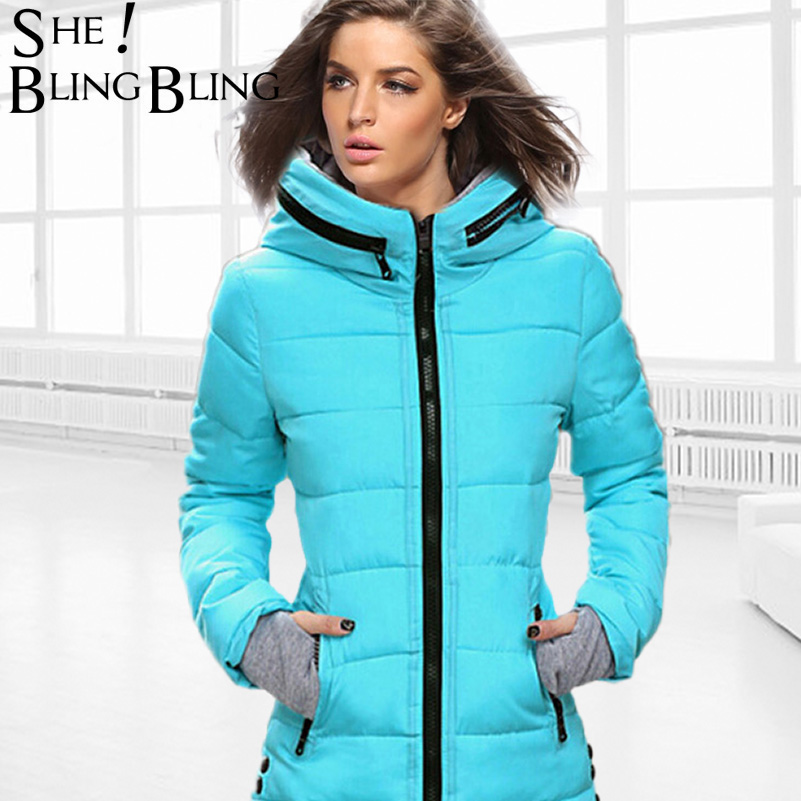 Long Style Warm Women Coats Winter Fashion Down Cotton   Parkas   Casual Hooded Jacket Thicken   Parka   Zipper Cotton Slim Outwear