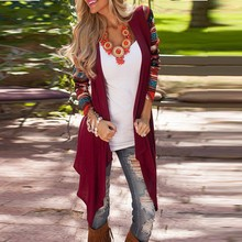 2016 Autumn Women Casual Loose Cardigan Vintage Print Long Sleeve Patchwork Outwear Ladies Irregualr Jacket Coat  S-XL