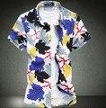 2016 Мужские 100% Мерсеризованный Хлопок Цветочные Платья С Коротким Рукавом Camisa Социальной Masculina Плюс Размер 7XL 6XL Бренд Clothings