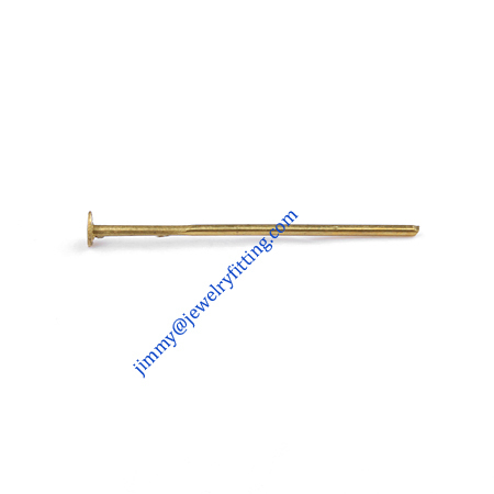 Jewelry Making findings Raw brass metal Head Pins with flat end Scarf Pins jewellry findings 0.7*50mm shipping free