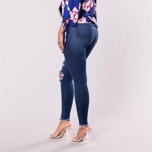 Image 4 - Hohe Taille push up denim jeans Frauen Slim fit calca jeans damen Zerrissene elastische dünne jeans Sexy Loch vintage freund jeans