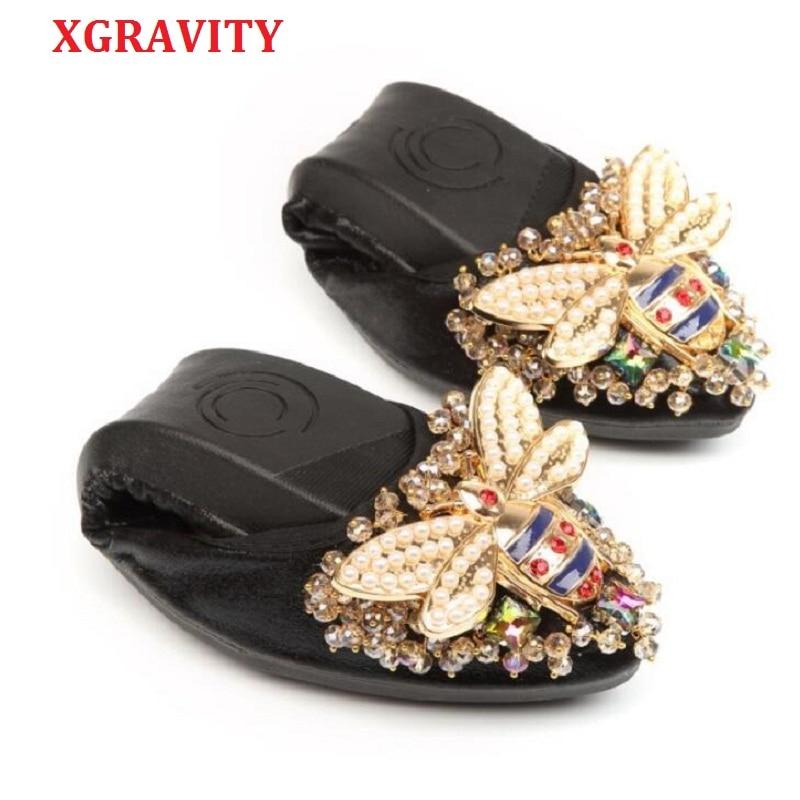 מעצבת דבורת XGRAVITY הנוח האלגנטי נעליים שטוח בגודל גדול אישה גביש יהלומים מלאכותיים אופנה גברת נשים נעלי ילדה רכות A031