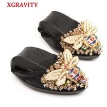XGRAVITY Bee Designer Crystal Woman Big Size Flat Shoes Elegant Comfortable Lady Fashion Rhinestone Women Soft Girl Shoes A031