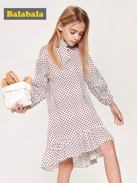 Balabala Girls Ruffled Collar Dress with Flare Hem with Bow Tie at Neck Teenager Girls Patterned Dress Spring Autumn Dresses