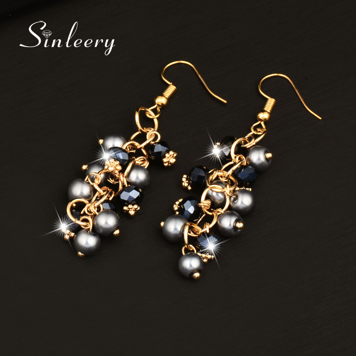 Sinleery 2017 Women Simulated Gray Pearl And Blue Crystal Dangle Earrings  Gold Color Party Earrings For