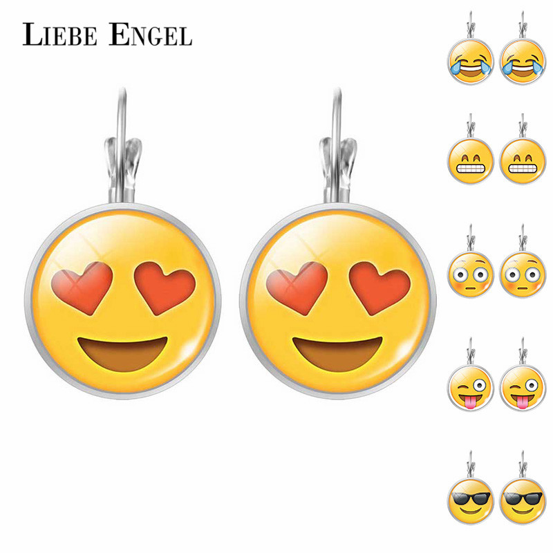LIEBE ENGEL Cute Jewelry Stud Earring Emoji Picture Emoticons Glass Cabochon Earrings For Women Silver Color Accessories Fashion