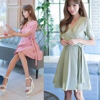 Katı fleabane Yaz Yüksek Bel Kadınlar Sevimli A-Line Yaprak Kısa Kollu Elbiseler V Yaka Elbise pembe yeşil Kadın Elbise