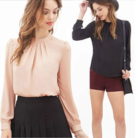 Women Blouses Summer Fold Loose Casual Lace Long Sleeve Shirt Tops Chiffon Blouse Plus Size XXL