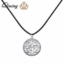 QIMING Valkyrie Silver Slavic Pendant Women Necklace viking Odin Thor Runes Warrior Charm Black Leather Chain Necklace Collier(Hong Kong,China)