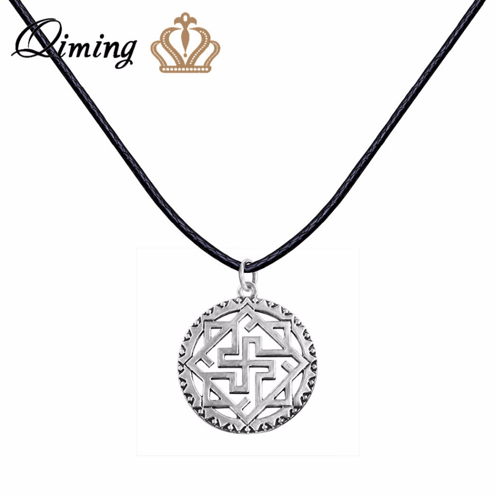QIMING Valkyrie Silver Ciondolo slavo Collana da donna viking Odin Thor Runes Warrior Charm Collana con catena in pelle nera Collier
