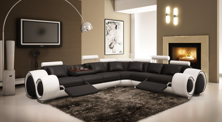 Living Room Sofa Furniture With Modern Corner Leather Sofas