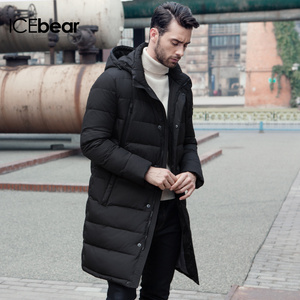 Image 4 - ICEbear 2019 New Clothing Jackets Business Long Thick Winter Coat Men Solid Parka Fashion Overcoat Outerwear 16M298D