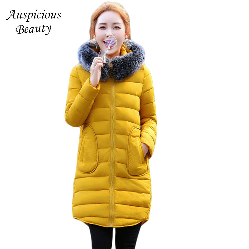 2017 New Fashion Ladies Thick Warm Winter Jacket Women Slim Parkas Female Large Fur Hooded Cotton Coat Plus Size S-3XL CXM197 women winter jacket 2017 new fashion ladies long cotton coat thick warm parkas female outerwear hooded fur collar plus size 5xl