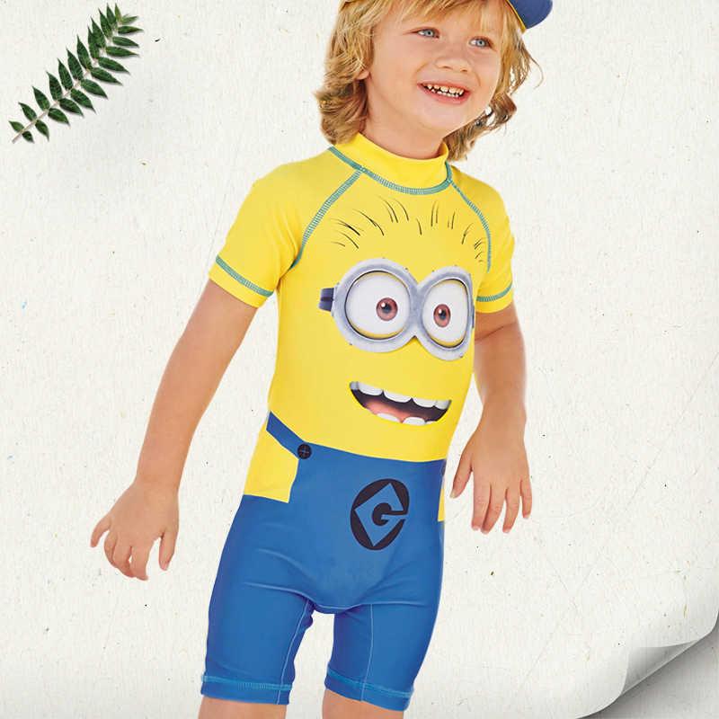 UPF50+ детский купальник с миньонами, купальный костюм с Бэтменом, купальник для мальчиков Капитан Америка, детская спортивная пляжная одежда, детский слитный купальник