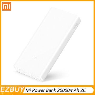 Original Xiao mi Banco Do Poder 20000mAh mi QC3.0 2C Apoio Carregador Portátil Dual USB Bateria Externa Banco 20000 para telefones celulares