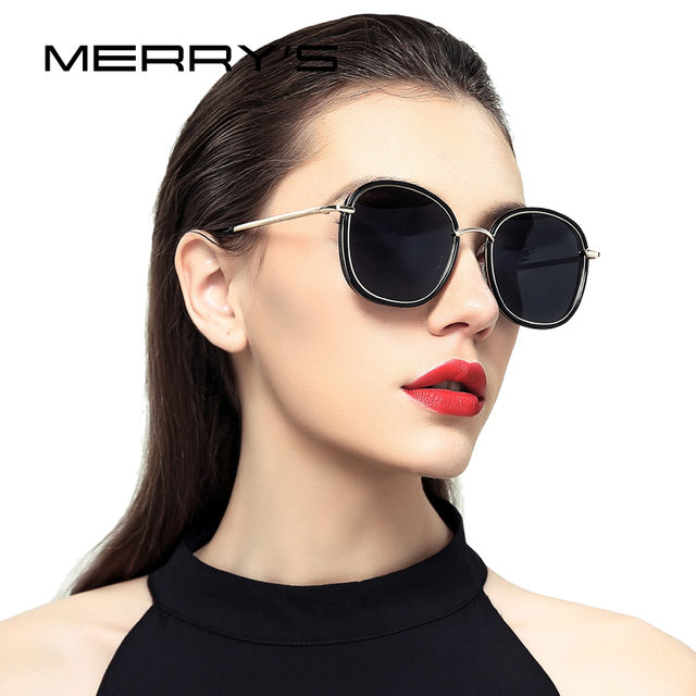 Merrys дизайн Для женщин Поляризованные солнцезащитные очки, кошачий глаз, модные солнцезащитные очки металлические дужки 100% защита от ультрафиолетовых лучей S6108