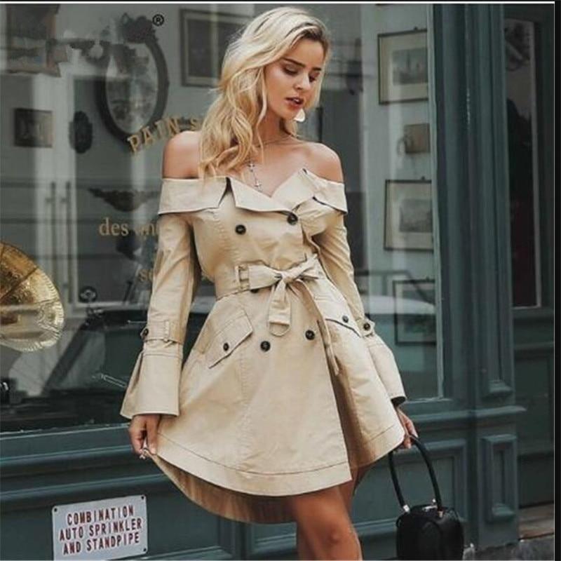 automne Pardessus Double Avec Poche Mince De Trench Coat 1 Boutonnage 2018 Manteau Printemps Femmes Mode Pour zwRBBFqfS