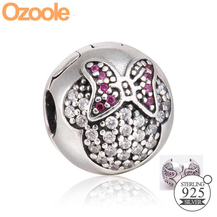 Autentyczne 925 Sterling Silver Mickey Minnie Darling klip biały emalia Spacer korek CZ Fit koralik urok Pandora bransoletki biżuteria